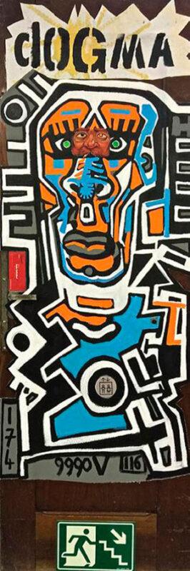 Dogma (A). 2015. 216 x 73 x 3,5 cm. Técnica mista s/ madeira.