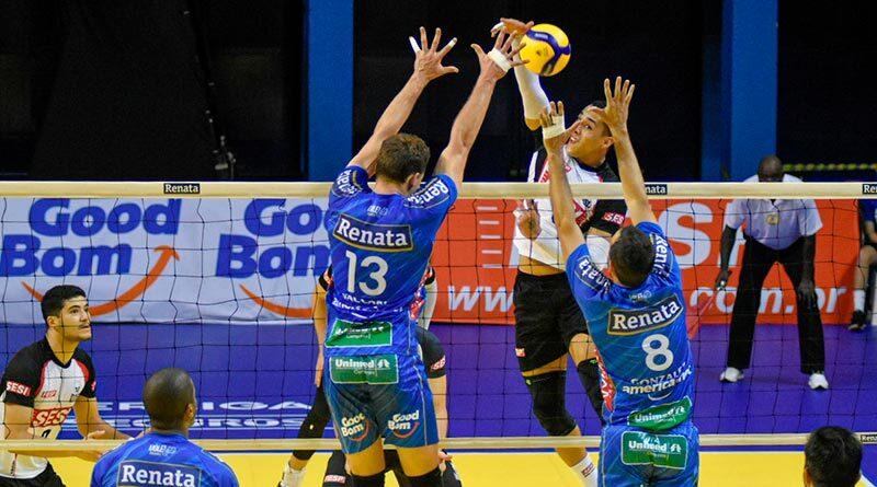 Super Liga: Renata vence o SESI e segue invicto na competição